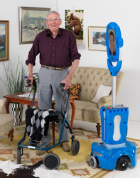 """Giraff"" system (to the right) enables communication between a senior and a caregiver while being at home"